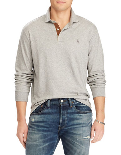Polo Ralph Lauren Classic-Fit Long Sleeve Polo-GREY-X-Large