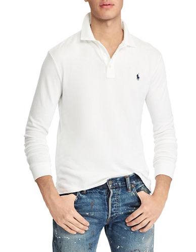Polo Ralph Lauren Long Sleeve Cotton Polo-WHITE-X-Large