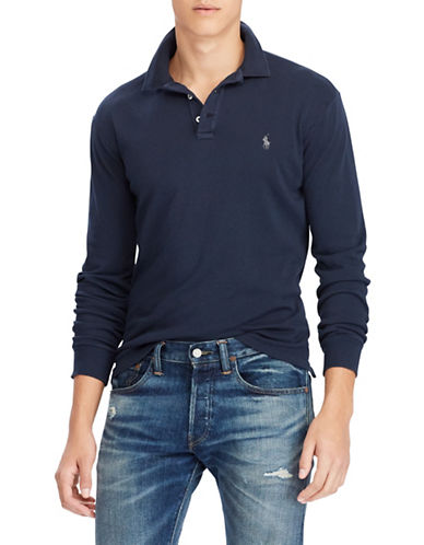Polo Ralph Lauren Long Sleeve Cotton Polo-NAVY-Medium