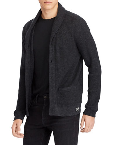 Polo Ralph Lauren Waffle-Knit Cotton Cardigan-BLACK-Large