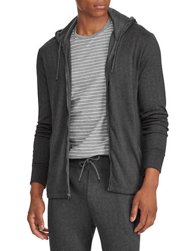 Polo Ralph Lauren Herringbone Double-Knit Hoodie-GREY-Medium