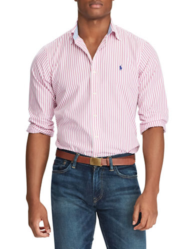 Polo Ralph Lauren Striped Cotton Sport Shirt-PINK-X-Large