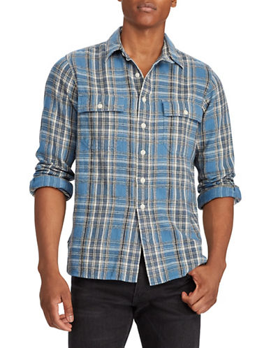 Polo Ralph Lauren Classic-Fit Plaid Workshirt-BLUE-Medium