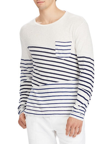 Polo Ralph Lauren Striped Cotton Tee-WHITE-X-Large