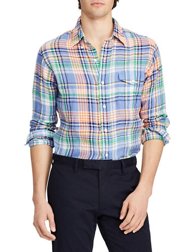 Polo Ralph Lauren Plaid Linen Sportshirt-BLUE-Small