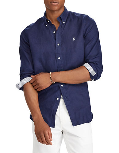 Polo Ralph Lauren Classic-Fit Linen Sportshirt-BLUE-Large