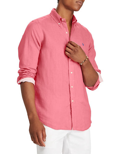 Polo Ralph Lauren Classic-Fit Linen Sportshirt-RED-X-Large