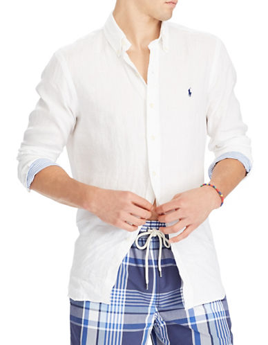 Polo Ralph Lauren Classic-Fit Linen Sportshirt-WHITE-Large