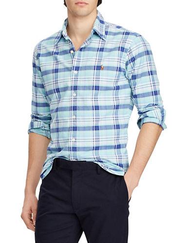 Polo Ralph Lauren Plaid Cotton Sport Shirt-GREEN-Small