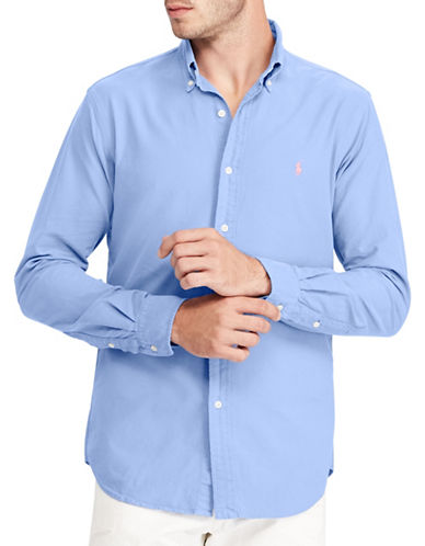 Polo Ralph Lauren Classic-Fit Cotton Sportshirt-LIGHT BLUE-Small