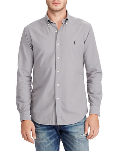 Polo Ralph Lauren Classic-Fit Cotton Sport Shirt-GREY-X-Large
