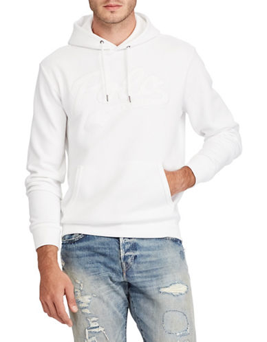 Polo Ralph Lauren Logo Double-Knit Hoodie-WHITE-Large