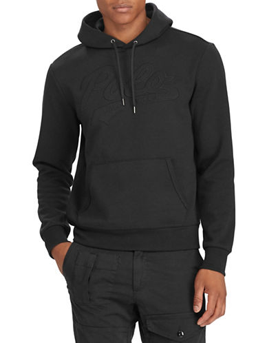 Polo Ralph Lauren Logo Double-Knit Hoodie-BLACK-XX-Large