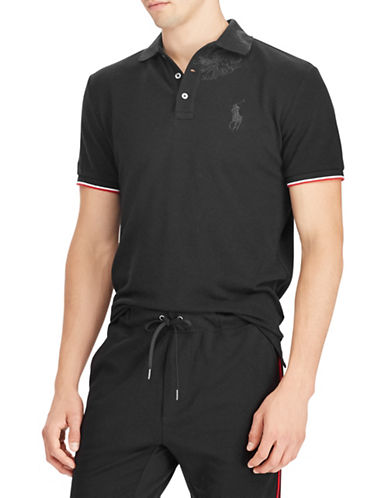 Polo Ralph Lauren Mesh Cotton Polo-BLACK-Medium