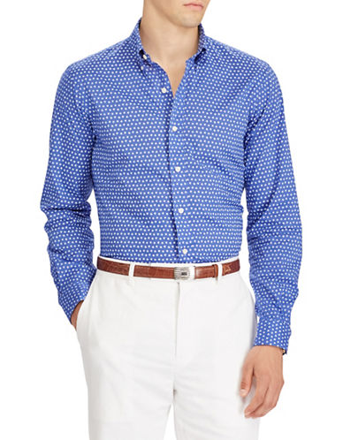 Polo Ralph Lauren Classic Fit Geometrical Cotton Sport Shirt-BLUE-Large Tall