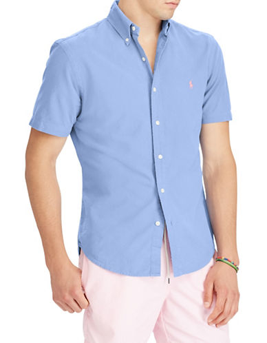 Polo Ralph Lauren Classic Fit Cotton Sport Shirt-LIGHT BLUE-Large Tall