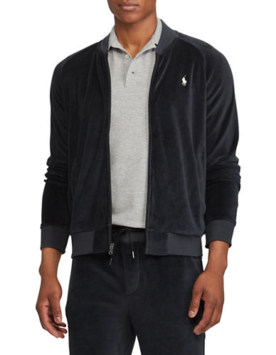 Polo Ralph Lauren Full-Zip Velour Jacket-BLACK-2X Tall