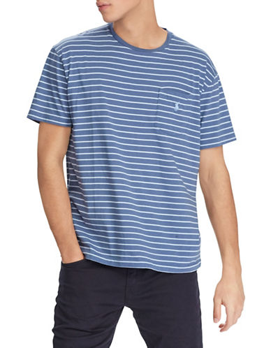 Polo Ralph Lauren Weathered Striped Cotton Tee-BLUE-5X Big