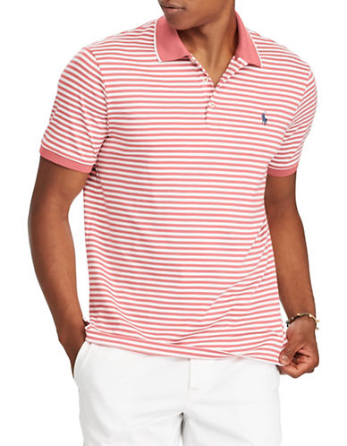 Polo Ralph Lauren Classic Fit Striped Cotton Logo Polo-RED-Large Tall