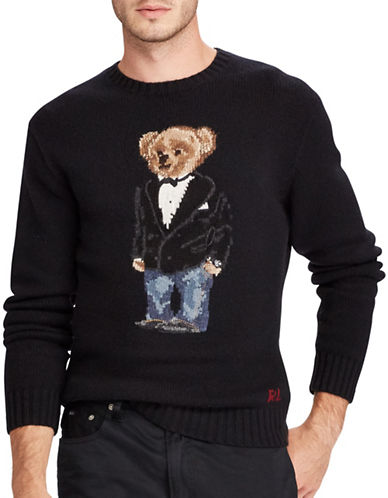 Polo Ralph Lauren Bear Wool-Blend Sweater-BLACK-Small
