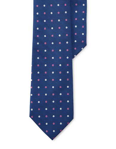 Lauren Ralph Lauren Dotted Silk Tie-NAVY-One Size