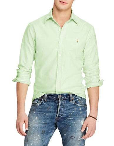 Polo Ralph Lauren Classic-Fit Cotton Sport Shirt-GREEN-X-Large