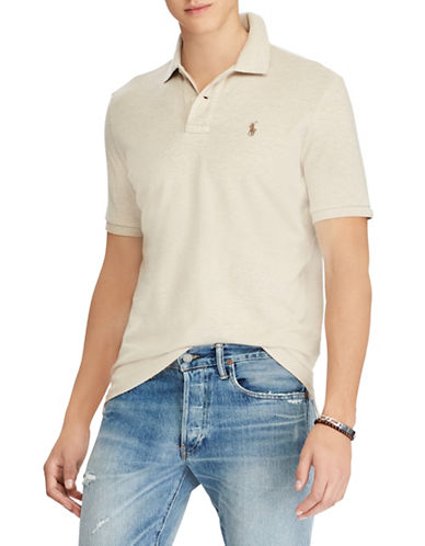 Polo Ralph Lauren Classic-Fit Cotton Mesh Polo-BEIGE-Large