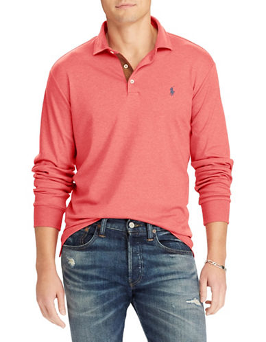 Polo Ralph Lauren Classic-Fit Long Sleeve Polo-ORANGE-Small