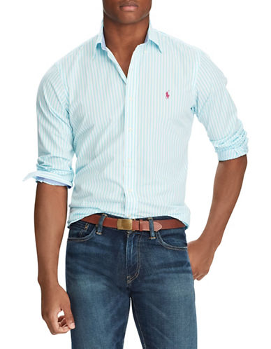 Polo Ralph Lauren Striped Cotton Sport Shirt-LIGHT BLUE-Small