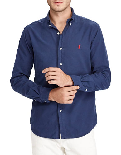 Polo Ralph Lauren Classic-Fit Cotton Sportshirt-BLUE-X-Large
