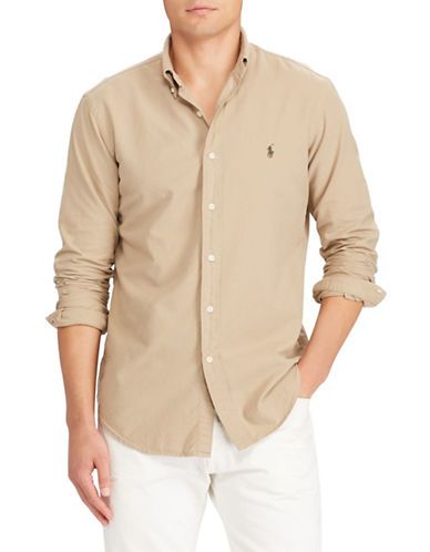Polo Ralph Lauren Classic-Fit Cotton Sport Shirt-BEIGE-Large