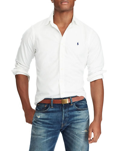 Polo Ralph Lauren Classic-Fit Cotton Sport Shirt-WHITE-Small