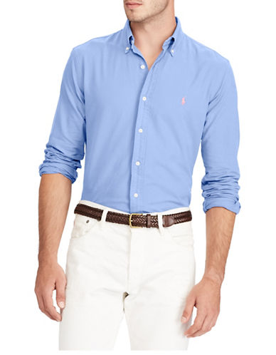 Polo Ralph Lauren Slim-Fit Cotton Sportshirt-LIGHT BLUE-XX-Large