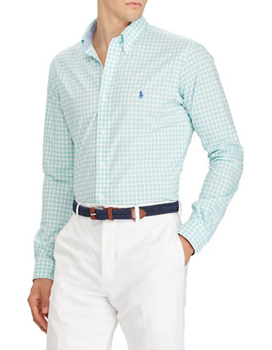 Polo Ralph Lauren Gingham Cotton Sportshirt-GREEN-Large
