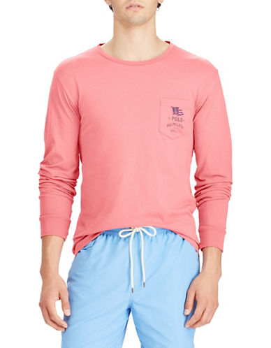 Polo Ralph Lauren Long Sleeve Cotton Tee-RED-Large