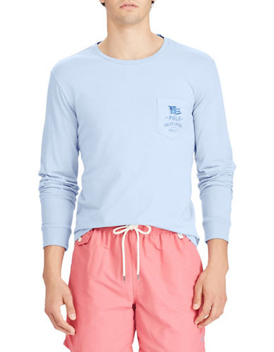 Polo Ralph Lauren Long Sleeve Cotton Tee-BLUE-Small