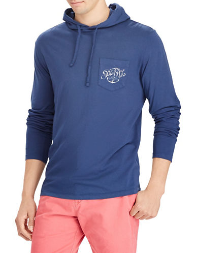 Polo Ralph Lauren Hooded Cotton Tee-BLUE-X-Large