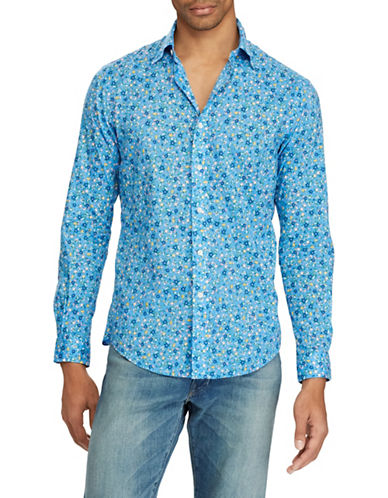 Polo Ralph Lauren Classic Fit Floral Cotton Sport Shirt-BLUE-3X Big