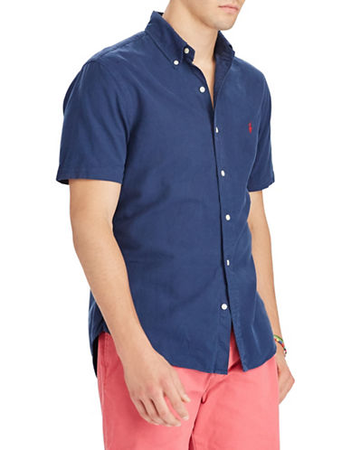 Polo Ralph Lauren Classic Fit Cotton Sport Shirt-BLUE-Large Tall