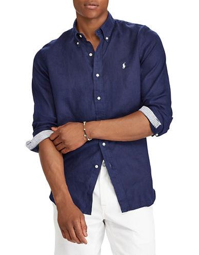 Polo Ralph Lauren Classic Fit Linen Logo Sport Shirt-BLUE-1X Tall