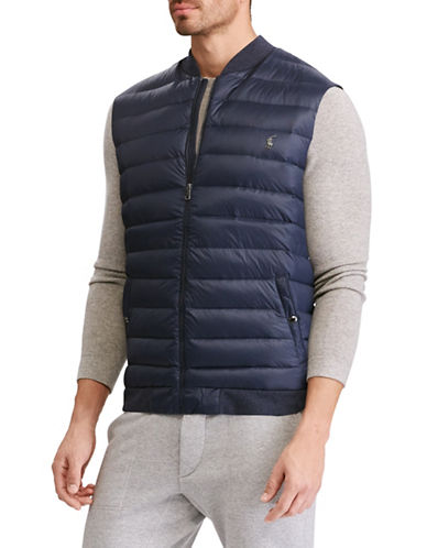 Polo Ralph Lauren Big and Tall Down-Panel Double-Knit Vest-NAVY-4X Tall