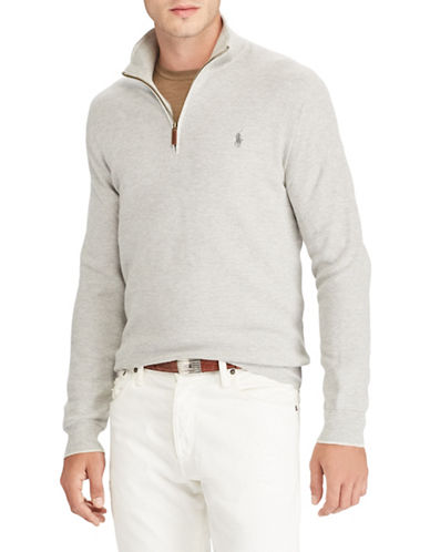 Polo Ralph Lauren Cotton Half-Zip Sweater-GREY-Medium