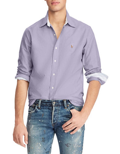 Polo Ralph Lauren Classic-Fit Cotton Sport Shirt-PURPLE-Large