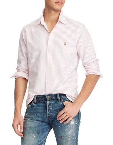 Polo Ralph Lauren Striped Long-Sleeve Cotton Sport Shirt-PINK-XX-Large