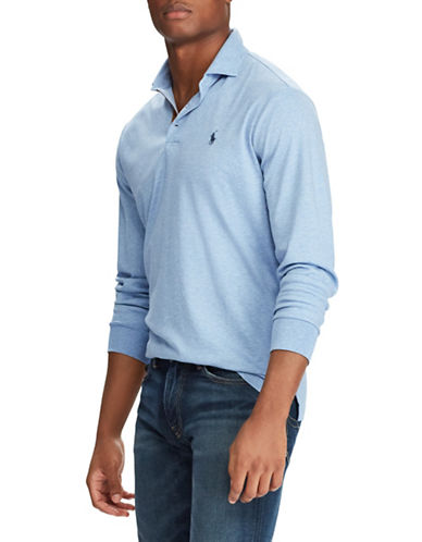 Polo Ralph Lauren Classic-Fit Long Sleeve Polo-LIGHT BLUE-Large