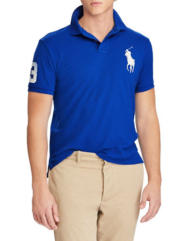 Polo Ralph Lauren Custom Slim-Fit Mesh Cotton Polo-BLUE-Large
