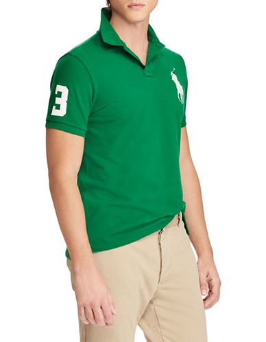 Polo Ralph Lauren Custom Slim-Fit Mesh Cotton Polo-GREEN-Medium