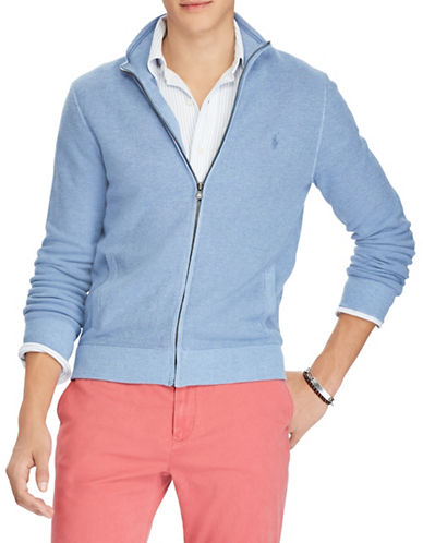Polo Ralph Lauren Cotton Full-Zip Sweater-BLUE-Small