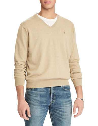Polo Ralph Lauren V-Neck Cotton Sweater-NATURAL-Small
