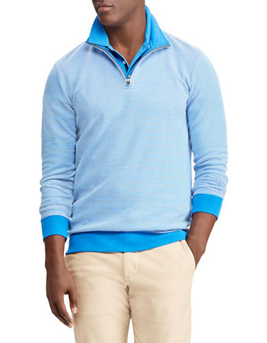 Chaps Striped Cotton-Blend Pullover-BLUE-X-Large